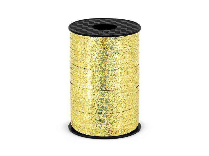Paris Dekorace Stuha vázací holografická zlatá 5 mm x 225 m