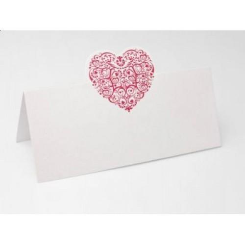 Paris Dekorace Svatební jmenovky na stůl s bordó srdcem