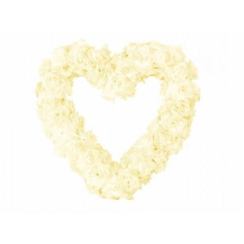 Paris Dekorace Ozdoba na auto srdce prázdné, 50cm, ivory