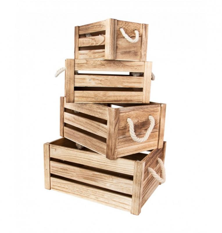 Paris Dekorace Dřevěné bedýnky 4 ks