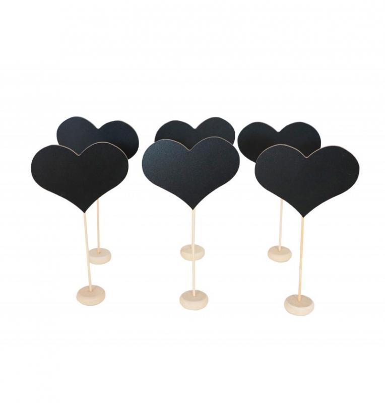 Paris Dekorace Dřevěné jmenovky srdce, 6 ks