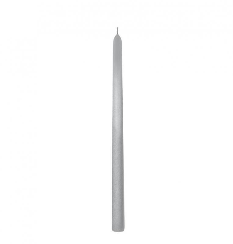 Paris Dekorace Stříbrná konická svíčka, 2 ks