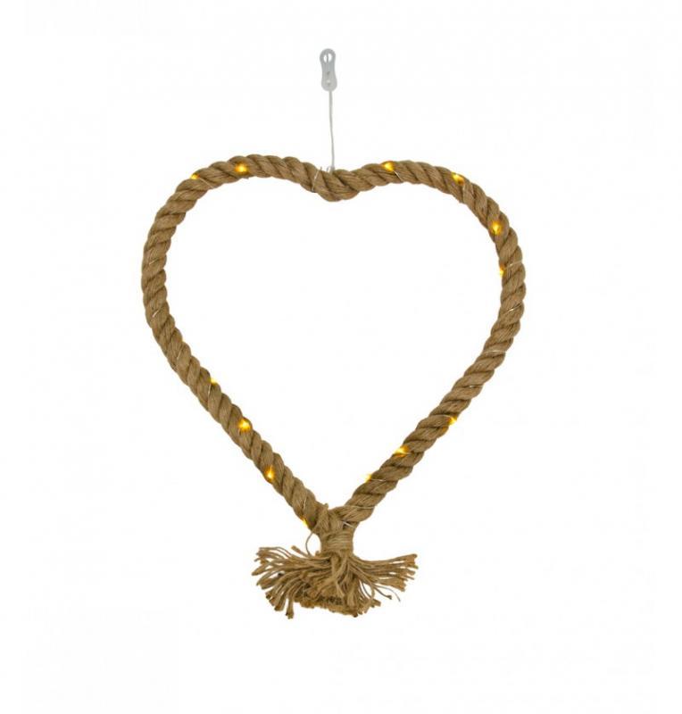 Paris Dekorace Jutové svítící srdce, 30x30cm