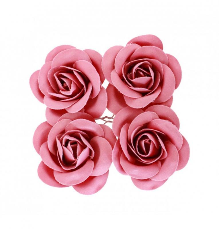 Paris Dekorace Fuchsia růžičky, 4 ks