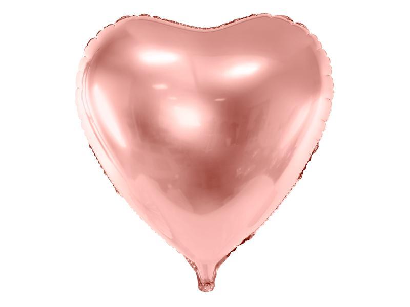 Paris Dekorace Foliový balónek srdce, růžové zlato 72cm