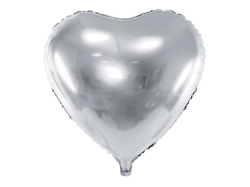 Paris Dekorace Foliový balónek srdce, stříbrné 45 cm