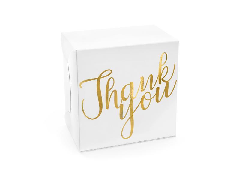 Paris Dekorace Krabička na výslužku zlatá, Thank you