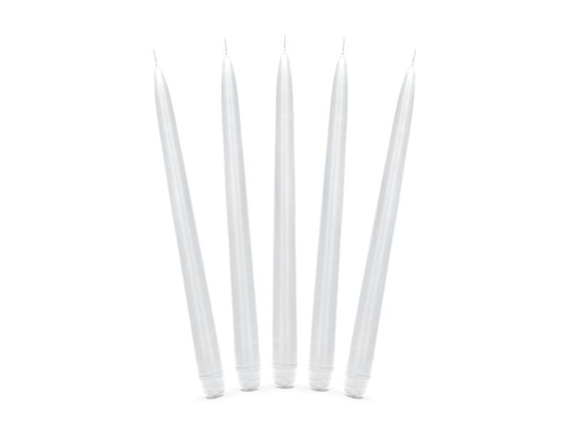 Paris Dekorace Bílá konická svíčka, matná 24 cm