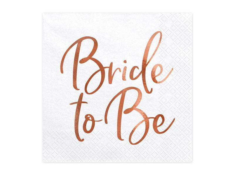 "Paris Dekorace Ubrousky ""Bride to be"" růžové zlato, 20ks"