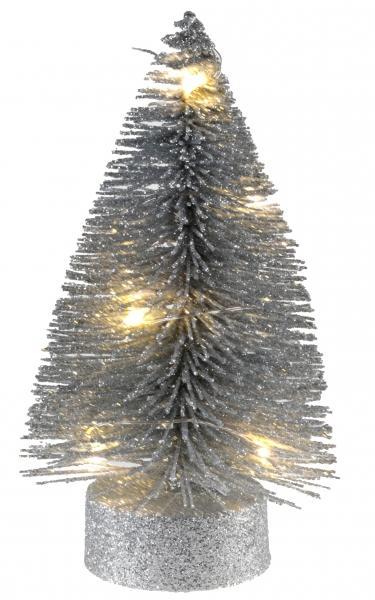 Paris Dekorace Stříbrný svítící stromeček, 3,5 x 10 cm
