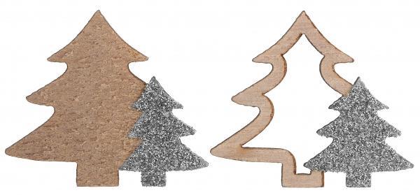 Paris Dekorace Vánoční stromečky stříbrné 10 ks, 4 x 3,5 cm