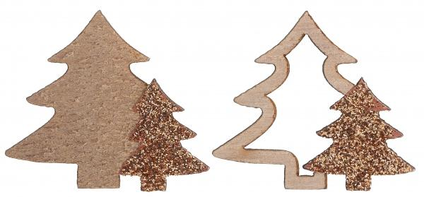 Paris Dekorace Vánoční stromečky růžové zlato 10 ks, 4 x 3,5 cm
