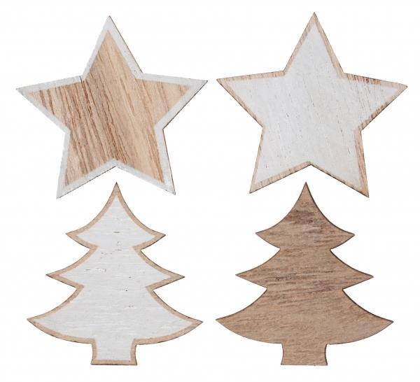Paris Dekorace Dřevěná dekorace - strom, hvězda, 12ks